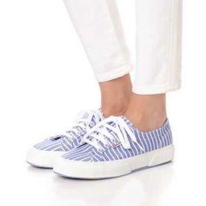 Superga 2750 Blue/White Striped Cotu Sneakers